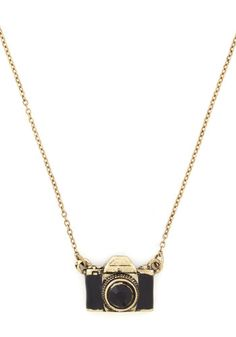 What Are You Waiting Photo Necklace - Casual, Black, Gold, Chain, Rhinestones, Gold