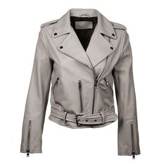 Casual Clothes, Casual Outfits, Holographic Jacket, Cropped Leather Jacket, Italian Leather, Rihanna, Belt Buckles, Cloths, Gray