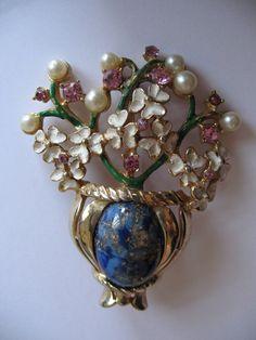 Kramer Urn with Enamel Flowers Pearls and Crystals Brooch