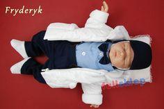 Kompletny strój na chrzest dla chłopca z garniturowej tkaniny