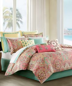 Echou0027s Guinevere Duvet Cover Mini Set Artfully Updates The Look Of Your Bed  With Captivating Coral, Pale Green, Pale Yellow U0026 Maroon Accents On A Cream  ...
