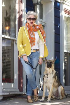 San Francisco-based Beth Djalali (56) shares daily outfit inspiration on her blog, Style at a Certain Age. Her style is ladylike, Modern Classic and preppy. Beth's makeup and silver hair are an integr