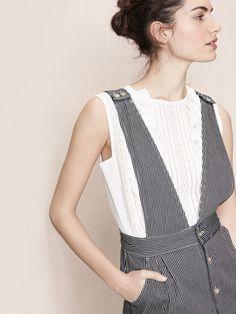 Striped denim dress with straps - New Arrivals - Maje.com