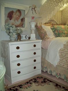paint your floor pink.drape vintage lace over sky light.and you have cozy cottage Cozy Cottage, Shabby Cottage, Cottage Living, Victorian Bedroom, Shabby Chic, Bedroom Inspo, Bedroom Ideas, Aesthetic Rooms, Dresser As Nightstand