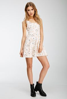 Lace-Paneled Floral Print Dress | Forever 21 - 2000117450