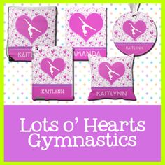 Lots o' Hearts Gymnastics Gifts - Pink heart patterned gifts for gymnasts.  Super easy to personalize.  #gymnastics