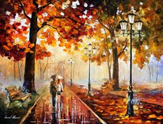 """THE STROLL OF INFINITY — PALETTE KNIFE Oil Painting On Canvas By Leonid Afremov - Size 30""""X40"""""""