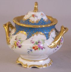 Handpainted antique Dresden porcelain tea set in 24k gold
