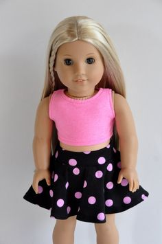 American Girl Doll Clothes Black with Pink Polka by CircleCSewing