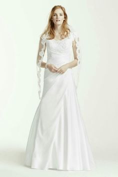 Satin Beaded Lace Off the Shoulder Wedding Dress