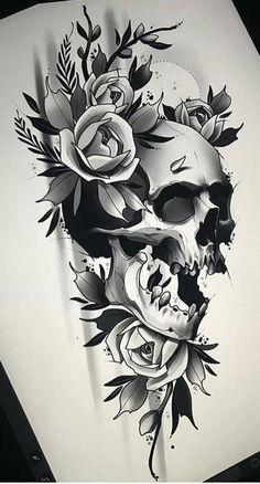 Schädel Tattoo, Schädel Tattoo Ideen - Skull Tattoo - Garden Planting - Home DIY Cheap - Blonde Hair Styles - DIY Jewelry Vintage Skull Tattoo Flowers, Skull Rose Tattoos, Flower Skull, Flower Tattoos, Body Art Tattoos, Sleeve Tattoos, Skull Tattoo Design, Tattoo Design Drawings, Skull Design