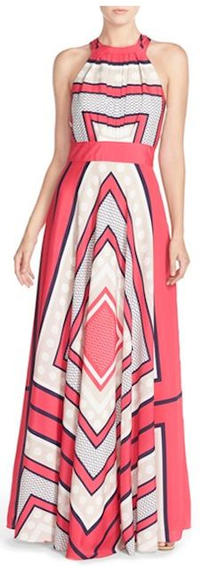 Scarf print woven maxi dress in pink