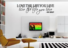 Love The Life You Live Bob Marley Insprational Quote Vinyl Wall Decal Sticker | eBay
