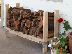 9 Super Easy DIY Outdoor Firewood Racks by Kathy Woodard ...Super easy DIY firewood racks-Firewood is dirty, it brings in some bugs and unless you live in a rustic mountain cabin, chances are it doesn't do much for your style. But then if you store it stacked outside, you need to make sure it doesn't trap moisture between it and the side of the house or become a perfect home for vermin in the garage. Oh, yes, on top of all that, you want it to stay off the ground so it doesn't get…