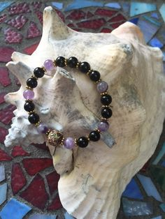 Amethyst and Black Jasper 8mm Bracelet with by ParvatiBeads