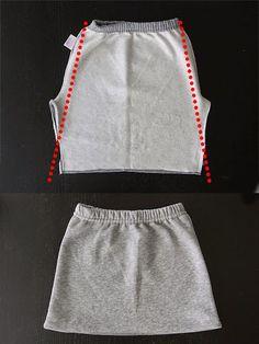 DIY: convertir unos pantalones de chándal en una falda