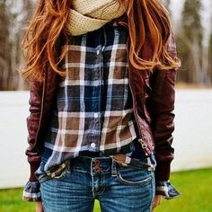 Love the plaid & infinity scarves
