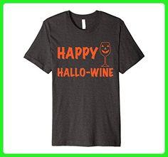 Mens Halloween T-shirt Happy Hallow Wine Short Sleeve Tee Large Dark Heather - Food and drink shirts (*Amazon Partner-Link)