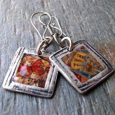 Trust Art Journal Photo Transfer Earrings