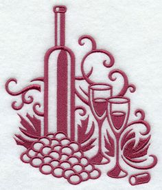 A damask wine and grape machine embroidery design.