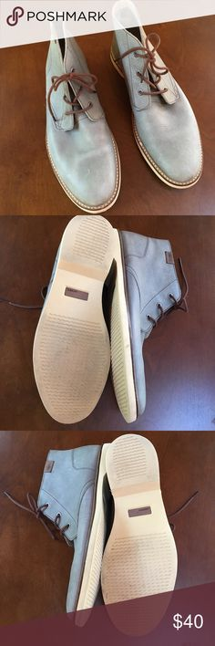 Men's Lacoste Leather Shoes Stylish pair of men's shoes! Can be dressed up or down. Blue/grey color with brown laces. Worn once. Lacoste Shoes