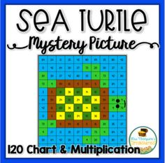 FREE sea turtle math mystery picture using multiplication facts or a 120 chart! Teaching Math, Math Math, Math Games, Teaching Ideas, Fifth Grade Math, Grade 3, 120 Chart, First Grade Activities, Hundreds Chart