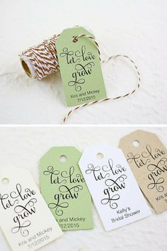 "Set of 25 wedding tags for $11.25. With ""Let love grow"" saying that can be attached to seed bag or favor bag. #etsywedding Photography by @firefam5"