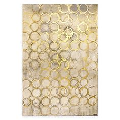 Subtle and fun, the Gold Circles Canvas Wall Art from Ren-Wil will add a lively touch to your décor. The gallery-wrapped print on natural canvas features sketched circles highlighted with shimmering gold.