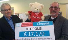 Afgelopen dinsdag 12 februari kreeg de directeur van Bio-Kinderrevalidatie, Ad Groen, een cheque overhandigd van 17.170 euro door Peter Isaak, directeur van Utopia Nederland.