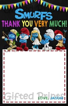 Smurfs Thank You Card Thank You Notes, Thank You Gifts, Birthday Thank You Cards, Printable Thank You Cards, Public Television, Themes Free, Appreciation Gifts, Above And Beyond, Kind Words