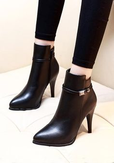 Black Point Toe Stiletto Fashion Ankle Boots - Available Sizes : - Heel Height : - Heel Height : High - Heel Type : Stiletto - Boot Shaft : Ankle - Color : Black - Toe : Point - Shoe Vamp : PU Leather - Closure : Zipper Hot Heels, Pumps Heels, Stiletto Heels, High Heel Boots, Heeled Boots, Bootie Boots, Shoe Boots, Women's Shoes, High Shoes