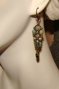 Green Picasso feather intricate bead work by PameliaDesigns