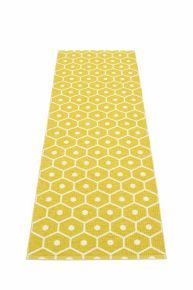 Pappelina HONEY Runner - Mustard - The Pappelina HONEY runner features a striking motif inspired by the hexagonal cells found in a beehive. Yellow Hallway, Yellow Stairs, Hallway Colours, Hallway Carpet, Carpet Stairs, Mustard Rug, Honey Mustard, Mustard Yellow, Home Design