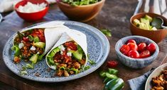 Try Vegetarian Tacos with crunchy walnuts and feta cheese. Serve in Plain Flour Soft Tortillas with Salsa. Vegetarian Taco Filling, Vegetarian Recipes, Pak Choi, Taco Fillings, Mexican Food Recipes, Ethnic Recipes, Xmas Food, Latest Recipe, Coleslaw