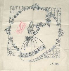 Vintage Deighton embroidery transfer - Crinoline Lady picking flower small panel in Crafts, Embroidery, Patterns | eBay