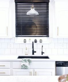 White kitchens are sleek and elegant. Matte Black finishes are HOT right now. Just add a splash of color to catch the eye and the room POPS! Photo credit: via Composite Sinks, Out Of Style, Beautiful Kitchens, Matte Black, Color Splash, White Kitchens, Kitchen Decor, House Design, Interior Design