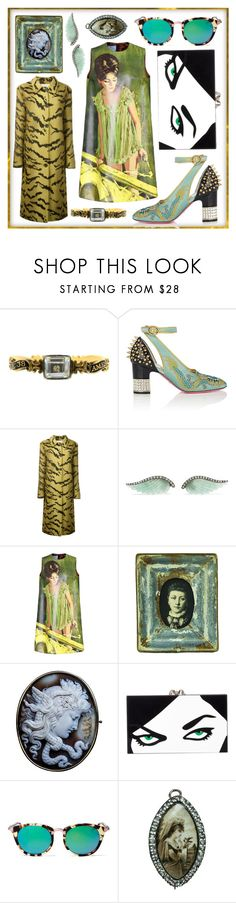 """""""Rhapsody in Green"""" by adalubdub ❤ liked on Polyvore featuring memento, Gucci, Christopher Kane, Noor Fares, Prada, Zentique, Charlotte Olympia, Wildfox, vintage and gucci"""