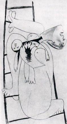 Picasso. Madre con niño muerto en escalera, 9 de Mayo de 1937 Lápiz sobre papel, 45 x 24 cm. Estudio para el Guernica. (Todos los bocetos están expuestos junto al Guernica en el Museo Reina Sofía de Madrid.)