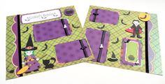 Cute Halloween- Scrapbook Layout- 2 Pages- Premade- 12 x 12- Witch- Vampire-Handmade. $17.00, via Etsy.