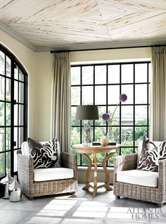 Betty Burgess 5. Oh that ceiling!  Love the color s heme with the windows. This could be part of a family room or sitting area in Master.