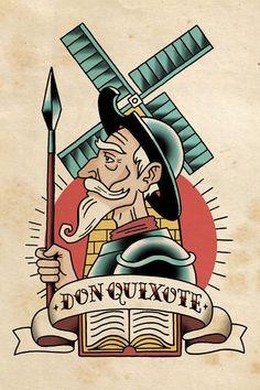 Don quixote de la mancha, Phillip Marsden - Photographie d'art Man Of La Mancha, Dom Quixote, Tatto Old, Font Art, Tatuagem Old School, Literary Tattoos, Tattoo Graphic, Classic Tattoo, Illustration