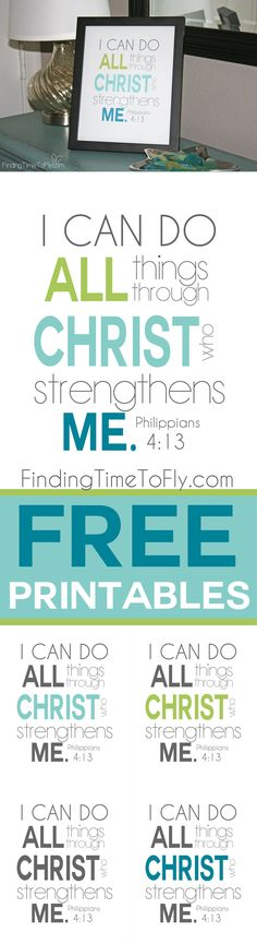 Beautiful print of Philippians I can do all things through Christ who strengthens me. Available in 5 colors and 2 sizes for framing. Philippians 4 13, Printable Bible Verses, Do It Yourself Home, Christian Inspiration, Christian Faith, Word Of God, I Can, Free Printables, Inspirational Quotes