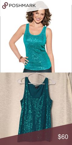 DKNY Teal Sequined Tank This top is in perfect condition. I wore it twice. It is very flattering and is great for layering or wearing alone. Very sparkly. Comes from a smoke free home. DKNY Tops Tank Tops