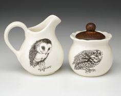 White Barn Owl Sugar and Creamer Woodland Collection Owl Kitchen Decor, Screech Owl, Owl Bird, Gothic House, Cream And Sugar, Sugar Bowl, Dinnerware, Owl Cookies, Tea Kettles