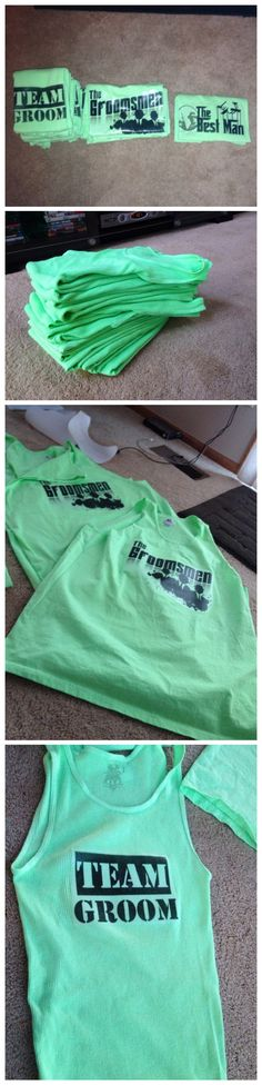 Bachelor party gifts. Bro tanks- amazon, neon green dye onlinefabricstore.net, iron-on print sheets Michaels, google image search, and some illustrator magic