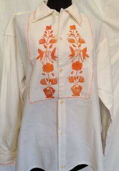 Vintage 1970s Embroidered Cotton Shirt Mexico Birds Flowers Unisex SZ M/L by ItemVintage on Etsy