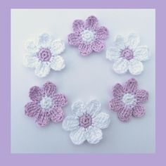 6 medium lilac and white crochet flowers, appliques and embellishments £3.00