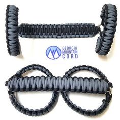 Paracord Front Grab Handles Roll-Bar Mount for Jeep Wrangler JK Gunmetal Gray