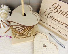 Build Memories Wedding Guest Book, Custom Wood Wedding Decoration, Engraved Wedding Accessories, Heart Wedding Guestbook Alternative, Tower