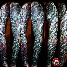 Biomech Tattoo, Biomechanical Tattoo Design, Cyborg Tattoo, Robot Tattoo, Demon Tattoo, Sick Tattoo, Skull Tattoo Design, Bike Tattoos, Full Sleeve Tattoos